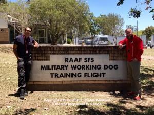 Brad Griggs (CSI) and Nino Drowaert (STS K9) tour the RAAF SFS MWD Training Facility 2017
